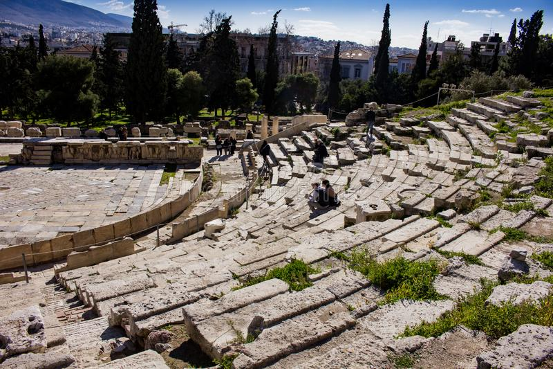 Teatro di Dionysus - vista laterale immagine stock libera da diritti