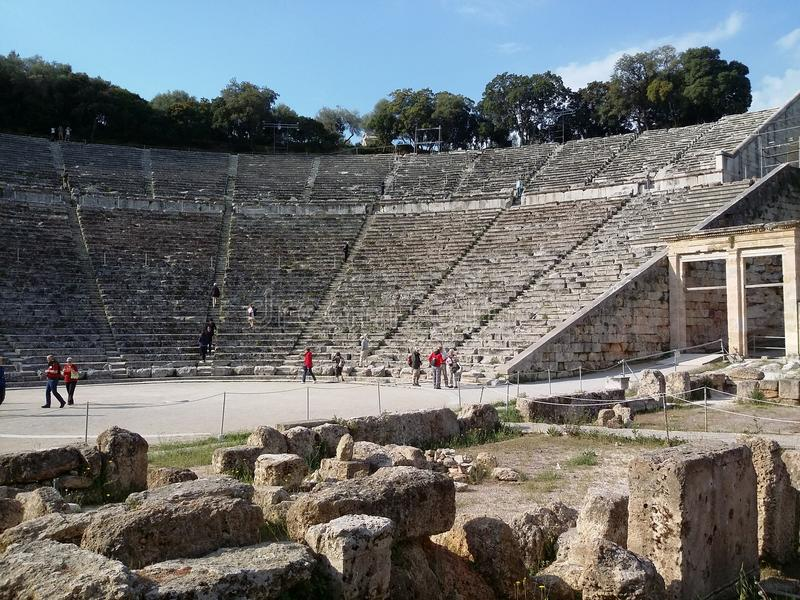 Teatro di Epidaurus immagini stock libere da diritti