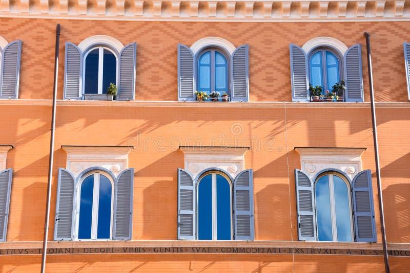 Teatro di Pompeo Square. Colorful building facade. Rome, Italy. February 11, 2017. Teatro di Pompeo Square. Colorful building facade and windows stock photos