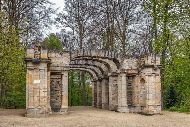 Teatro di rovina in giardino, Bayreuth, Germania fotografia stock libera da diritti
