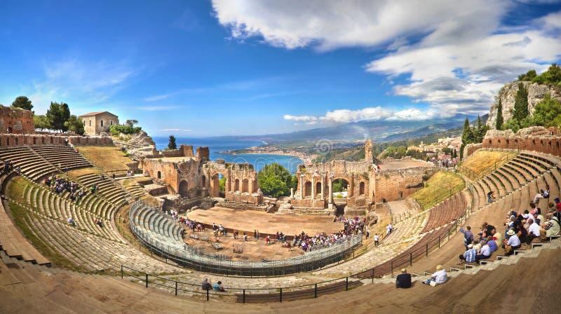 Teatro di Taormina, Sicile, Italie image libre de droits