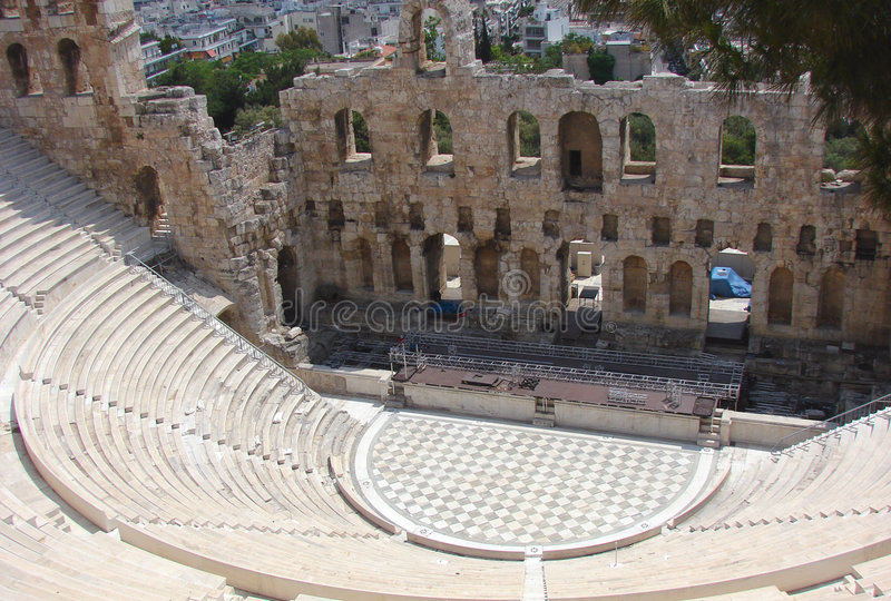 Teatro do Acropolis em Atenas fotos de stock royalty free