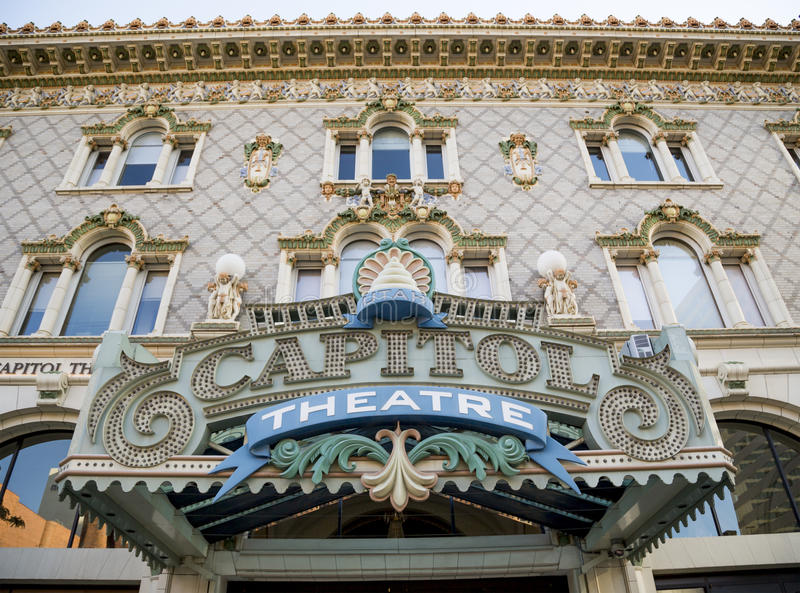 Teatro do Capitólio, para baixo cidade Salt Lake City, Utá imagem de stock