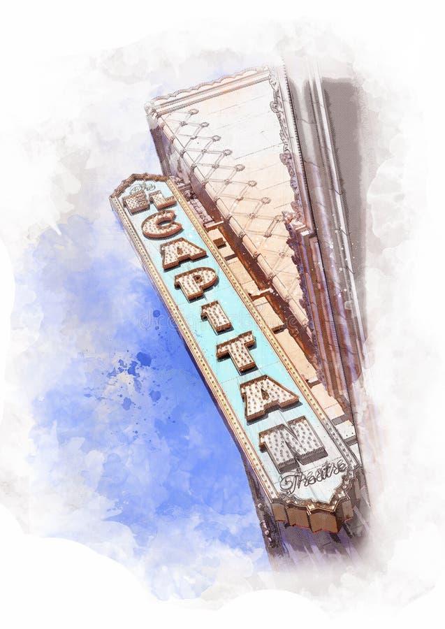 Teatro do EL Capitan no bulevar de Hollywood, Los Angeles - EUA ilustração royalty free