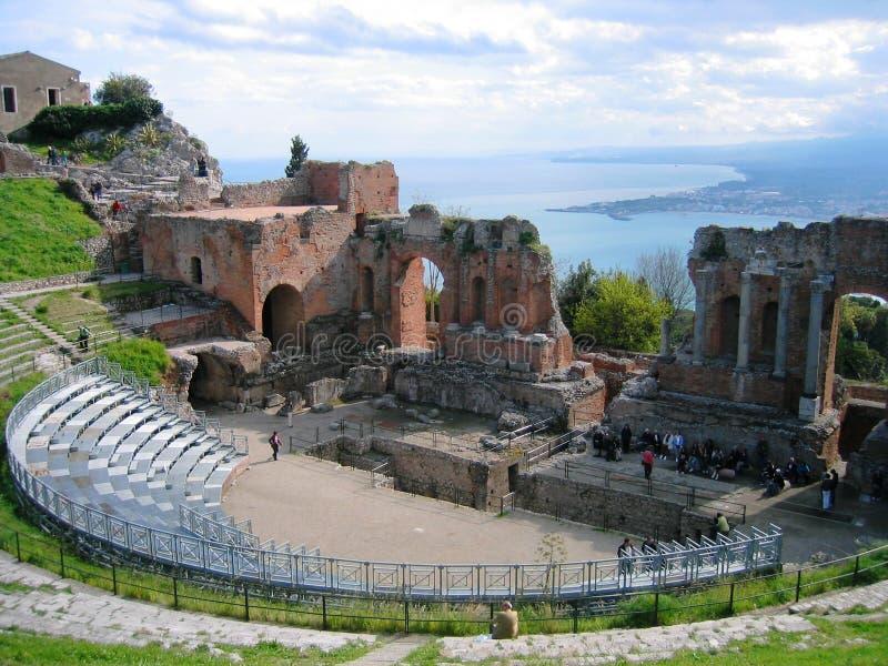 Teatro do grego de Taormina fotos de stock