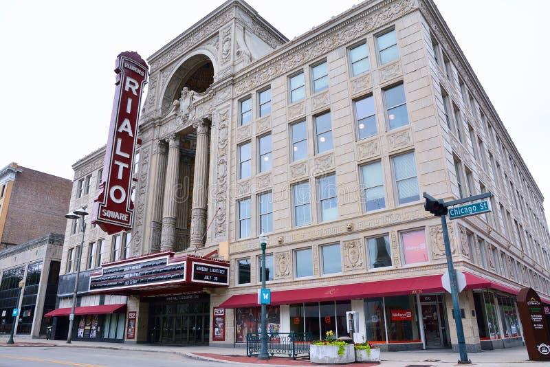 Teatro do quadrado de Rialto em Joliet, Illinois fotografia de stock royalty free