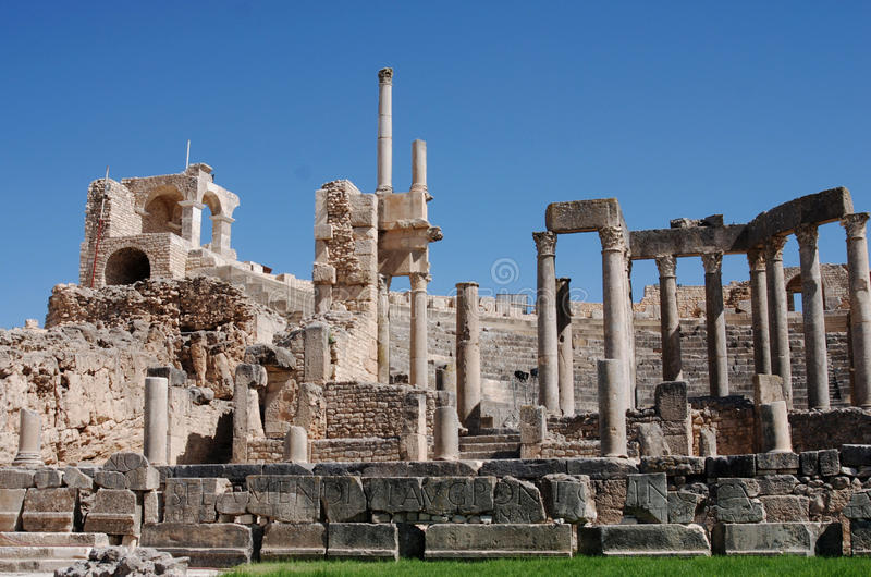 Teatro, Dougga, Tunísia imagens de stock
