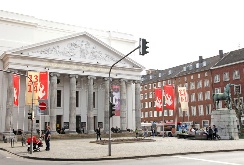 Teatro en la ciudad Aquisgrán, Alemania imagenes de archivo