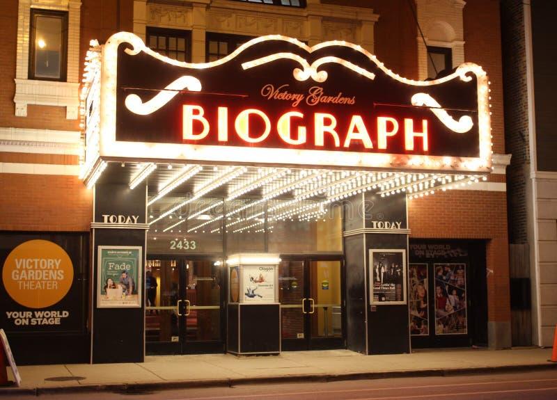 Teatro en la noche, Chicago de Biograph fotografía de archivo libre de regalías