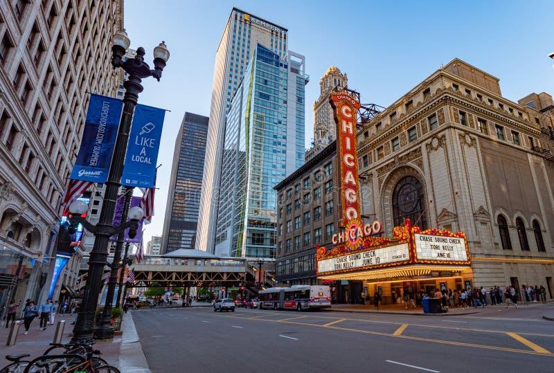 Teatro famoso di Chicago a State Street precedente Balaban e Katz Theater - CHICAGO, U.S.A. - 11 GIUGNO 2019 immagini stock