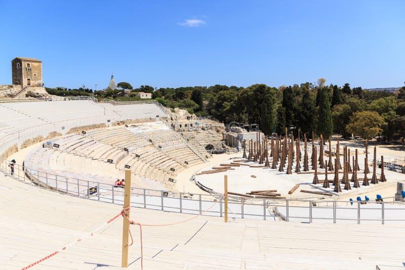 Teatro Greco全景,希腊露天剧场 库存照片