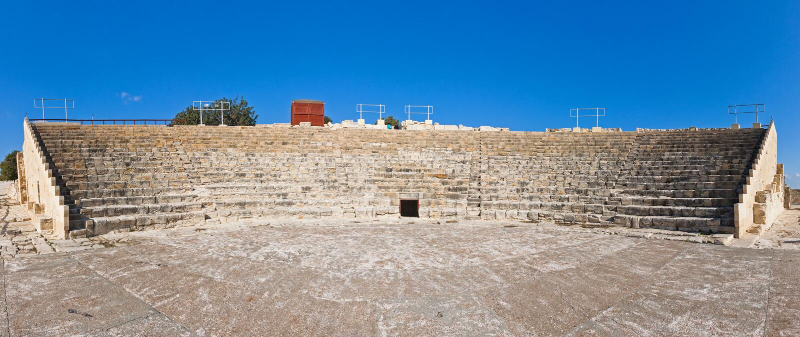 Teatro greco-romano antico in Kourion, Cipro fotografia stock libera da diritti
