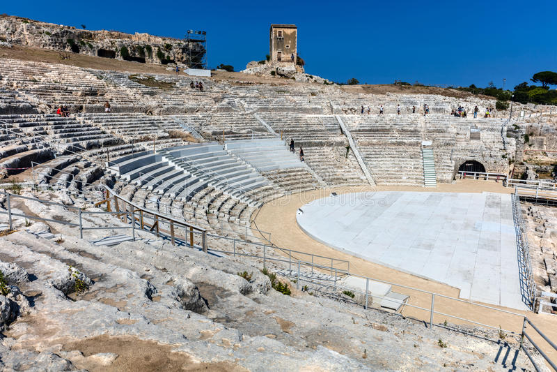 Teatro greco a Siracusa, Sicilia, Italia immagini stock