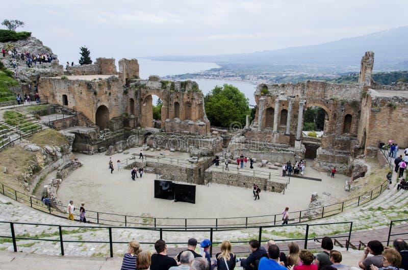 Teatro Greco, Taormina, Sicily royalty free stock image