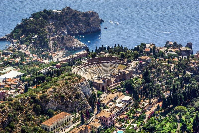Teatro grego de Taormina Sicília imagens de stock royalty free