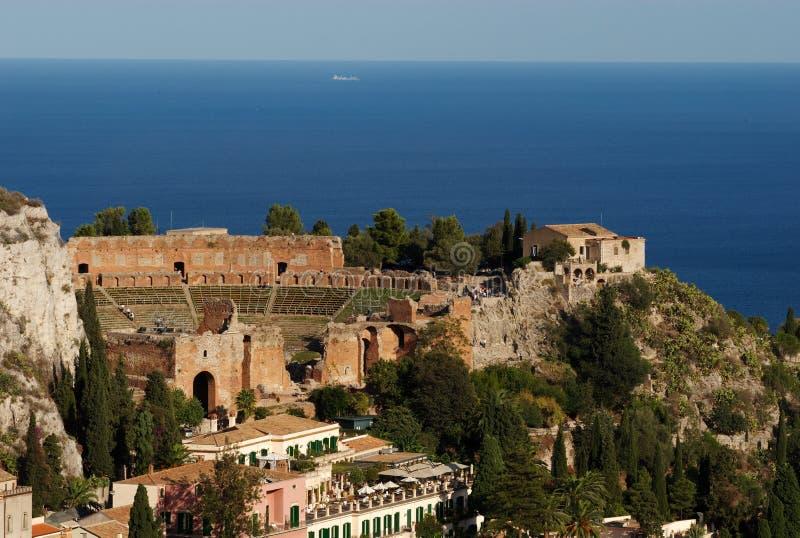 Teatro grego, Taormina, Sicília imagem de stock