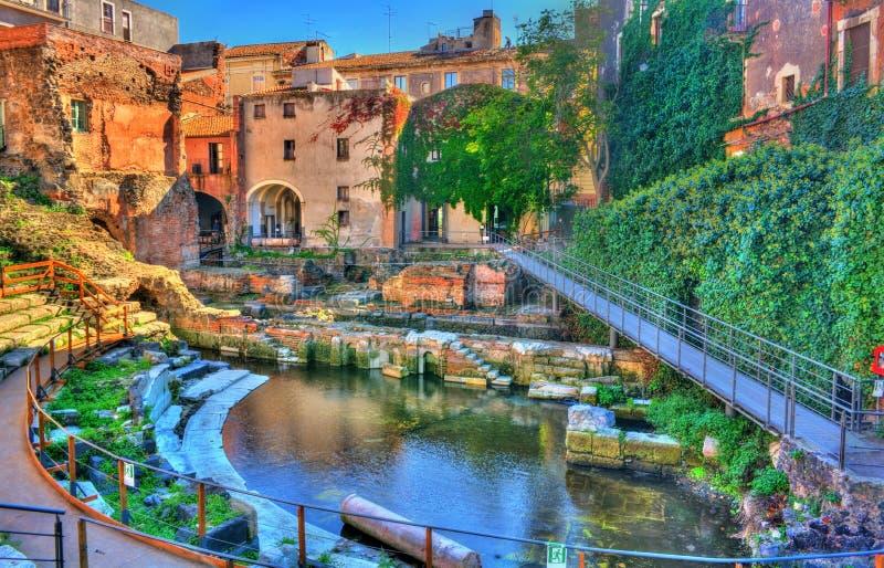 Teatro Griego-romano de Catania en Sicilia, Italia foto de archivo libre de regalías
