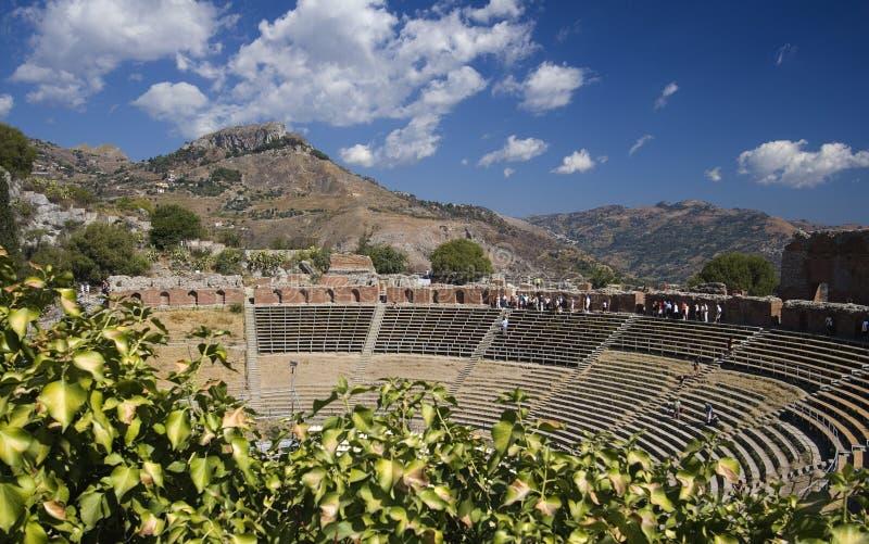Teatro griego Taormina imagenes de archivo