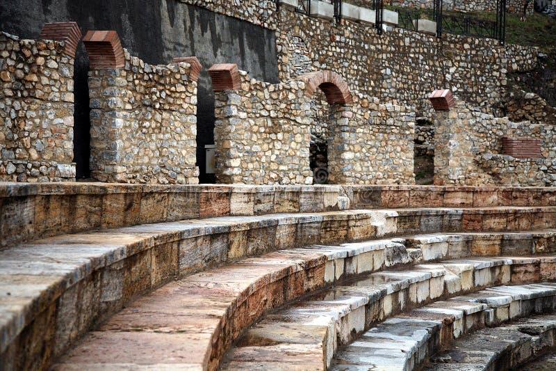 Teatro Hellenistic em Ohrid imagem de stock