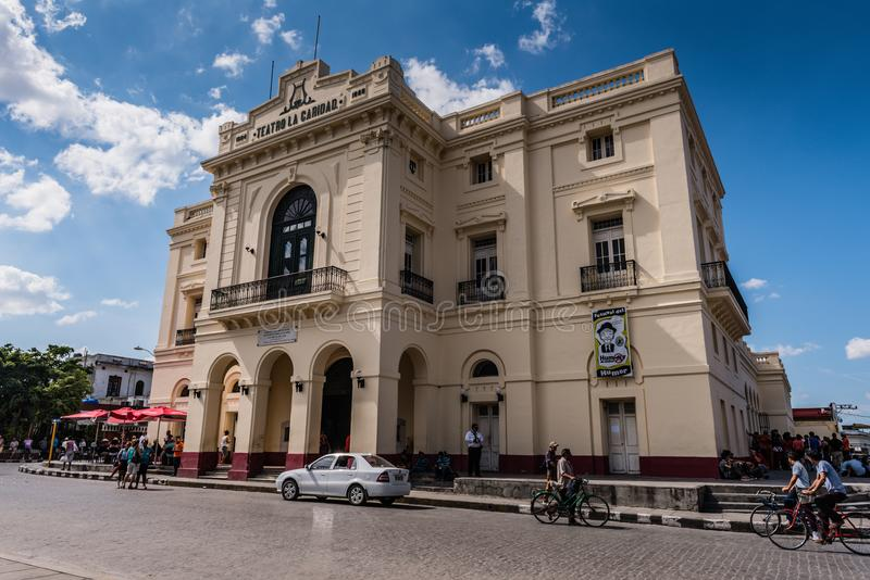 Teatro La Caridad - Santa Clara, Cuba. Santa Clara, Cuba / March 16, 2016: Teatro La Caridad, a national monument of Cuba, is one of its few remaining colonial royalty free stock photo