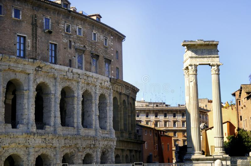 The Teatro Marcellus in Rome royalty free stock photo