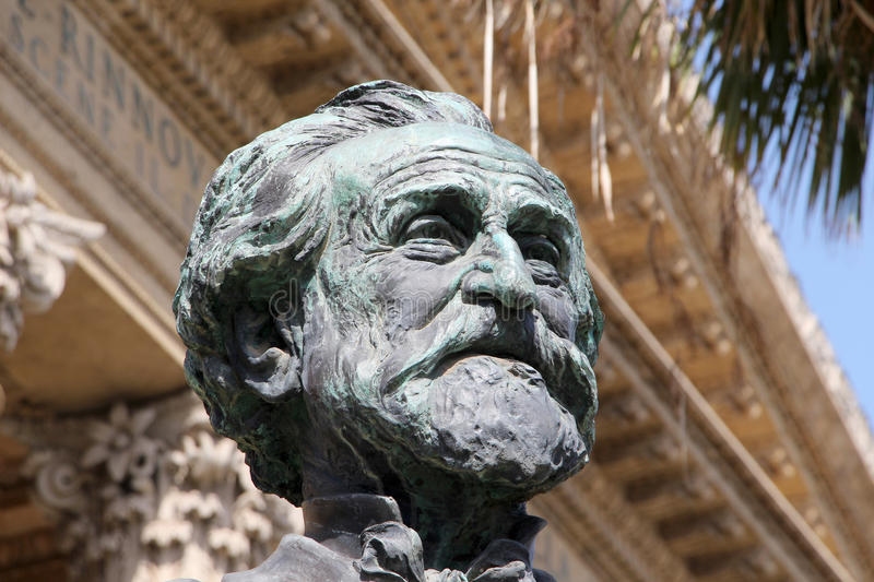 Teatro massimo, palermo, giuseppe verdi. A detailed foreground of the bronze bust of giuseppe verdi, musician, from the teatro massimo of palermo, sicily, a well royalty free stock photography