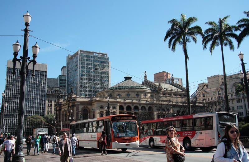 Teatro municipal em Ramos de Azevedo Quadrado, Sao Paulo imagens de stock