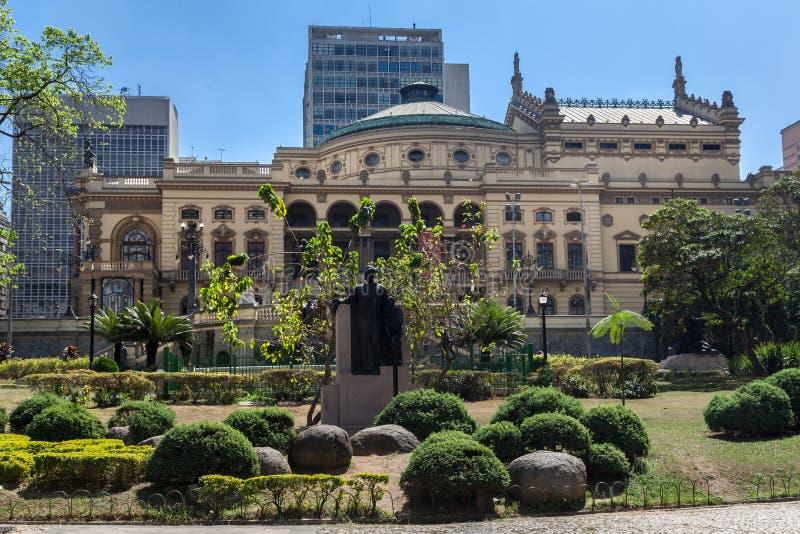 Teatro municipal Sao Paulo el Brasil fotos de archivo