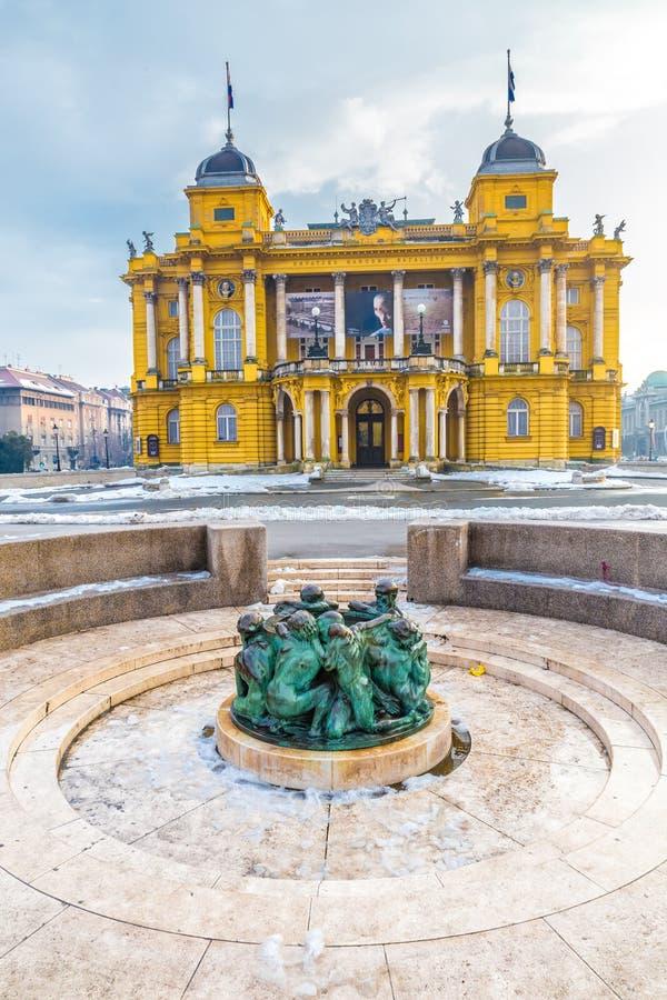 Teatro nacional croata - Zagreb, Croatia fotografia de stock royalty free