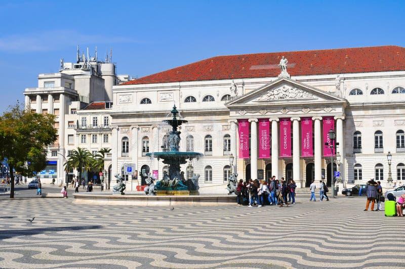 Teatro nacional D. Maria II em Lisboa, Portugal foto de stock royalty free