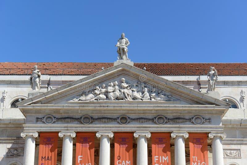 Teatro nacional Dona Maria II, Lisboa, Portugal foto de stock