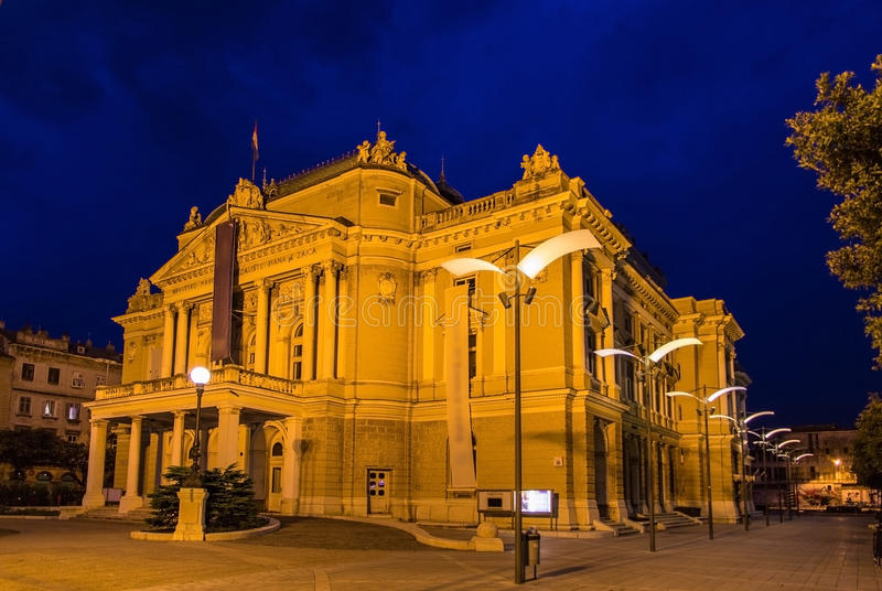 Teatro nazionale croato Ivan Zajc a Rijeka immagini stock