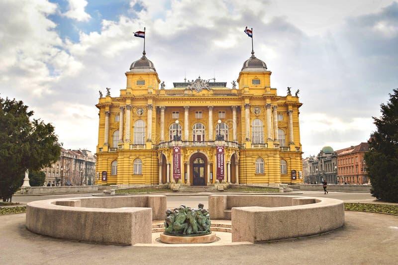 Teatro nazionale croato, Zagabria, Croazia fotografia stock