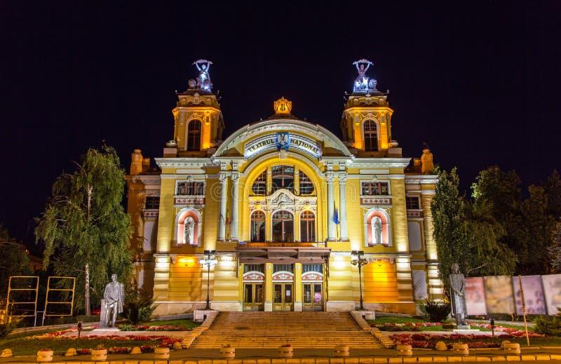 Teatro nazionale di Cluj-Napoca di notte fotografia stock