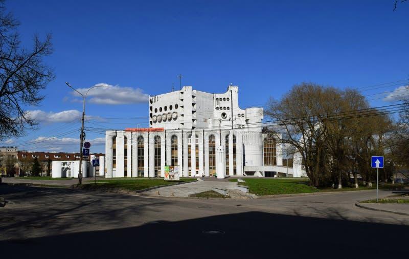 Teatro nominato dopo Fyodor Dostoevsky in monumento di Veliky Novgorod Russia di architettura sovietica fotografia stock libera da diritti