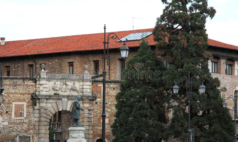 The Teatro Olimpico in Vicenza portal in Veneto (Italy) royalty free stock images