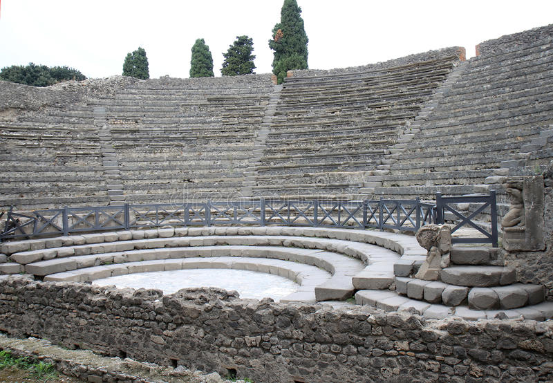 Teatro Piccolo in ancient Pompeii, Italy stock images