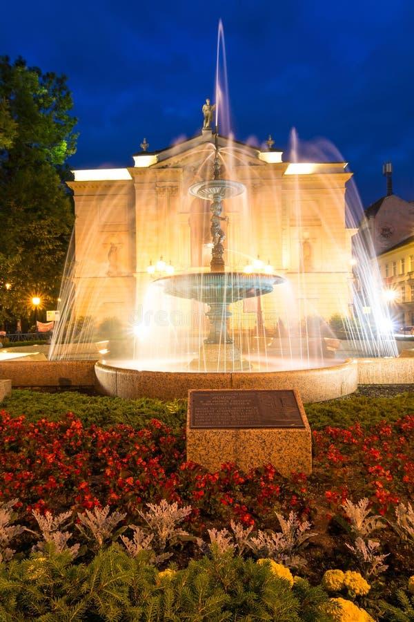 Teatro polacco con la fontana nella vista verticale immagine stock