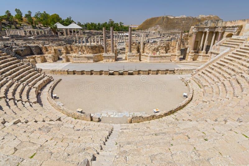 Teatro romano antiguo en Bet Shean Scythopolis National Park, Israel imágenes de archivo libres de regalías