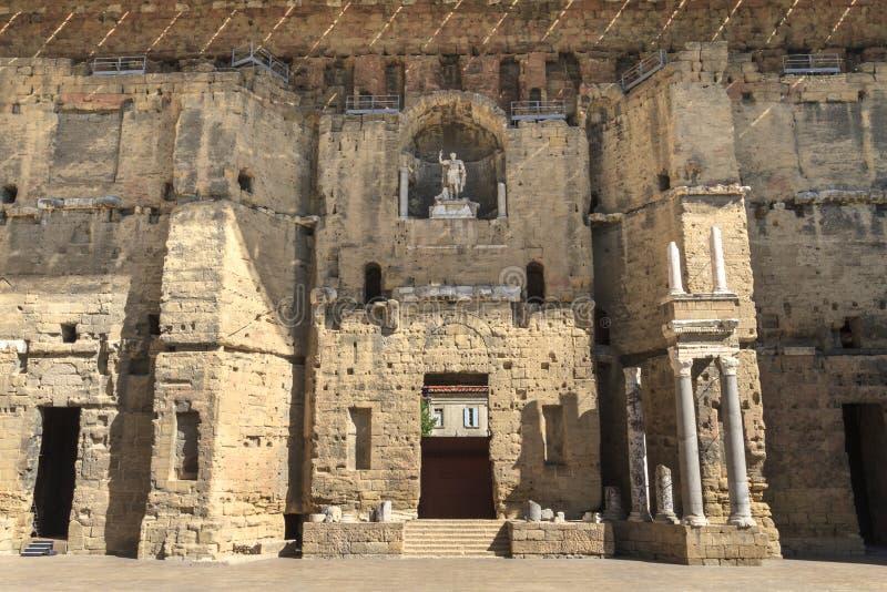 Teatro romano antiguo en Francia anaranjada, meridional fotografía de archivo libre de regalías