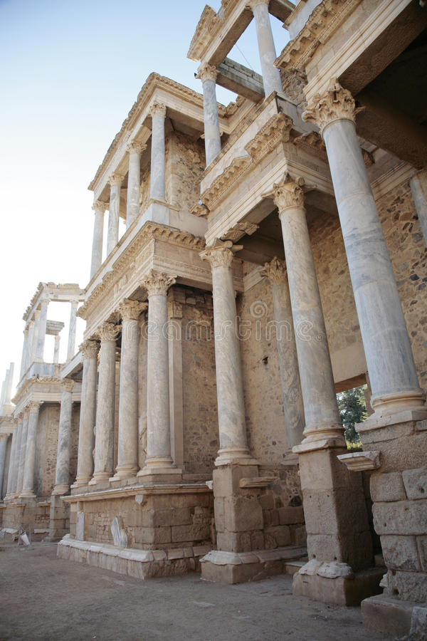 Teatro romano antiguo en Mérida (España) fotos de archivo