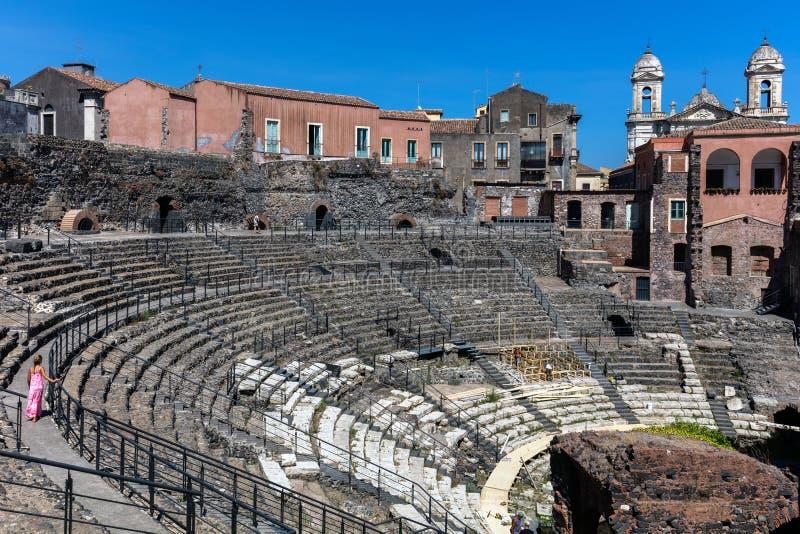 Teatro romano a Catania, Sicilia, Italia fotografie stock
