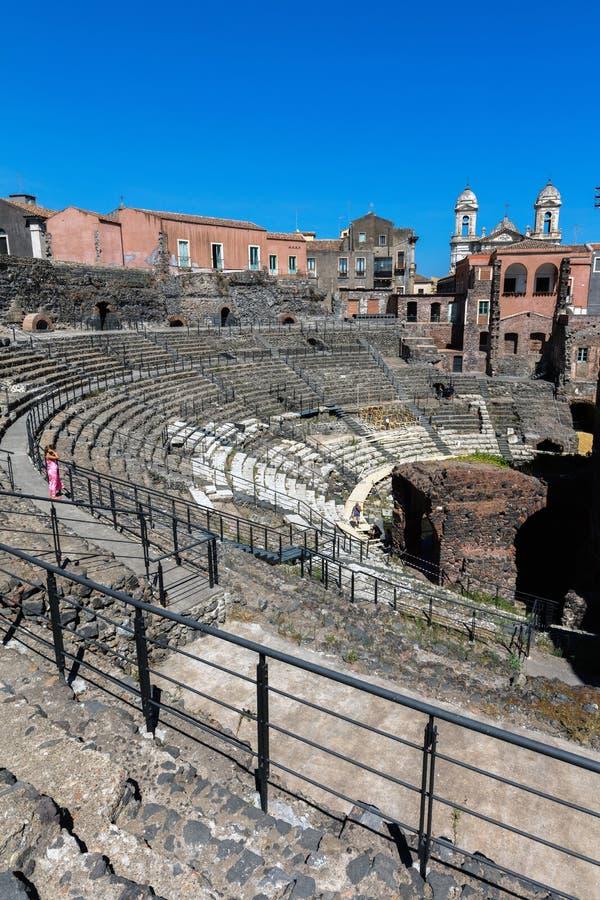 Teatro romano a Catania, Sicilia, Italia fotografia stock libera da diritti