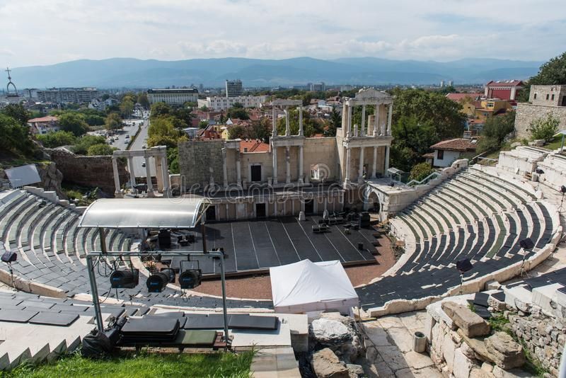 Teatro romano de Plovdiv, Bulgaria fotografía de archivo