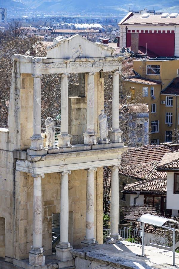 Teatro romano de Plovdiv, detalle imagen de archivo libre de regalías