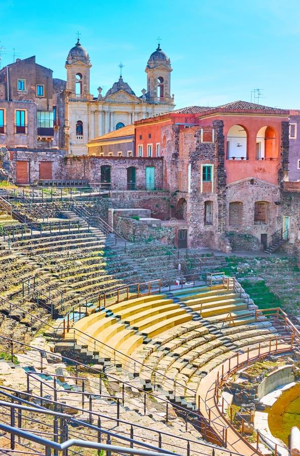 Teatro romano en Catania foto de archivo libre de regalías