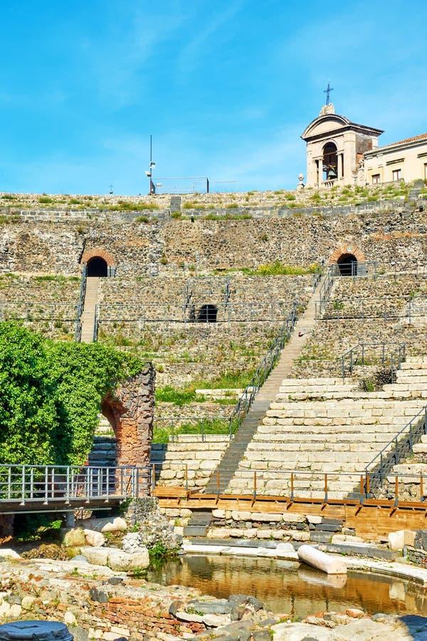 Teatro romano en Catania foto de archivo