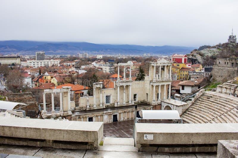 Teatro romano en la ciudad de Plovdiv, Bulgaria fotografía de archivo