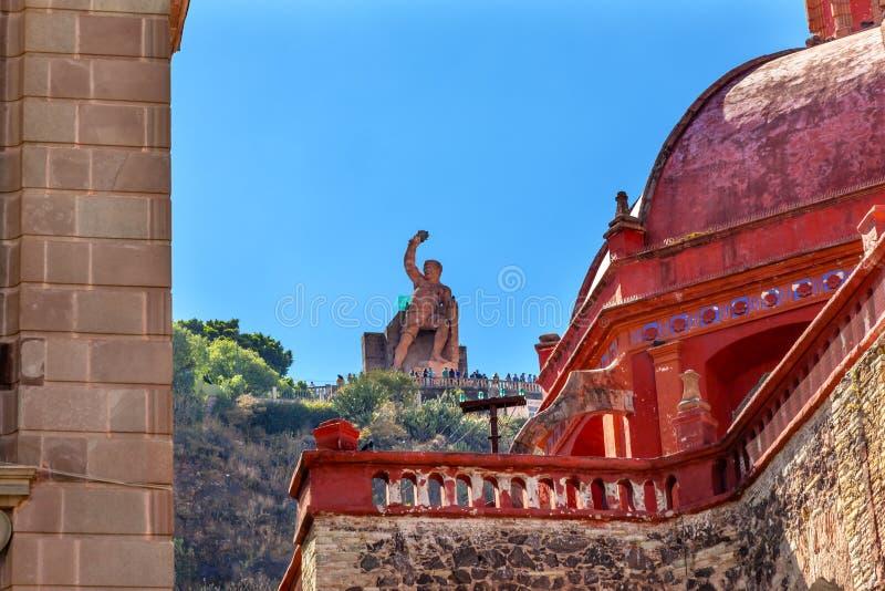 Teatro San Diego Church El Pipila Statue Guanajuato México foto de stock royalty free