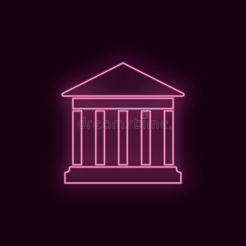 Teatro storico, al neon, icona Icona al neon del ux di ui di colore vermiglio del teatro Vettore di logo del segno del teatro - v royalty illustrazione gratis